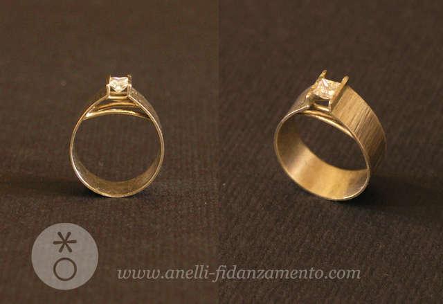 anello con diamante oro bianco