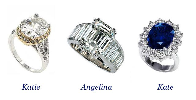 Three very famous, yet very unique engagement rings.