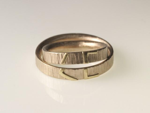 """Fedi nuziali con iniziali: """"LC""""- Fedi con iniziali componibili / """"LC""""- White gold rings with white gold inserts, forming the bride and groom's initials"""
