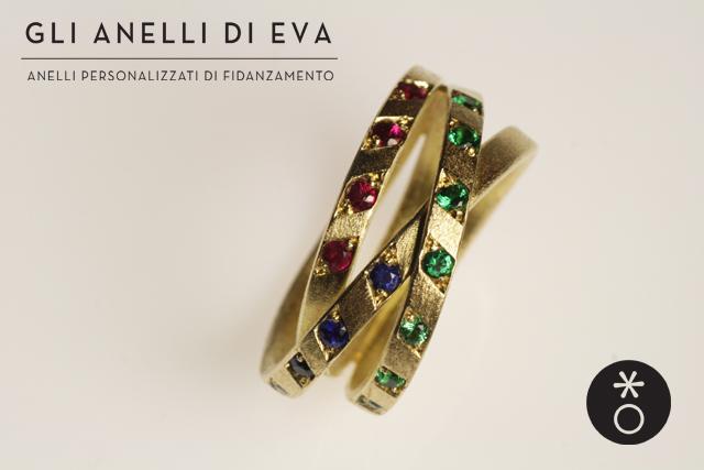 Anello nodo personalizzato per Antonella, con pietre preziose colorate.