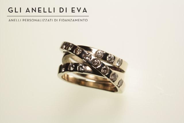 Anello intrecciato con diamanti bianchi e champagne recuperati da vecchi gioielli.