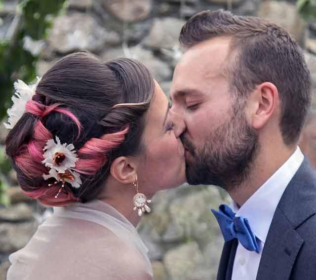Miriam e Roberto nel giorno del loro matrimonio.