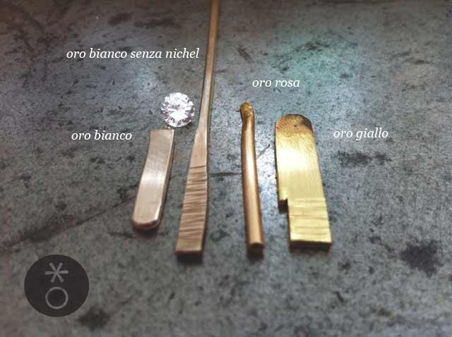 Le principali colorazioni di oro in lega 18 kt : oro bianco non rodiato, oro bianco nichel free, oro rosa e oro giallo.